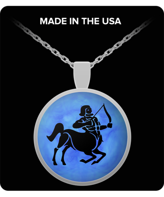Sagittarius Necklace - Zodiac Signs Pendant - Blue Background - Uncle Seal
