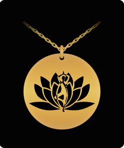 Laser Engraved Necklace - Gold plated Plated Round Pendant - Yoga Flower Design - Small Charm