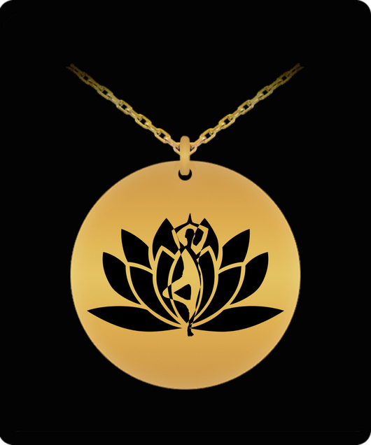 Laser Engraved Necklace - Gold plated Plated Round Pendant - Yoga Flower Design - Small Charm - Uncle Seal