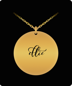 Ellie Pendant - Name Necklace - Personalized Charm Gift - Gold plated Plated/Stainless Steel - Laser Engraved - Lovely Present - Uncle Seal