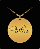 Lillian Pendant - Name Necklace - Personalized Charm Gift - Gold plated Plated/Stainless Steel - Laser Engraved - Lovely Present - Uncle Seal