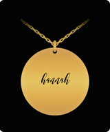 Hannah Pendant - Name Necklace - Personalized Charm Gift - Gold plated Plated/Stainless Steel - Lovely Present - Uncle Seal