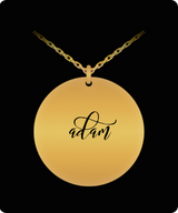 Adam Pendant - Name Necklace - Personalized Charm Gift - Gold plated Plated/Stainless Steel - Laser Engraved - Lovely Present - Uncle Seal
