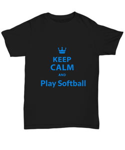 Keep Calm and play Softball - Black Tshirt - Uncle Seal