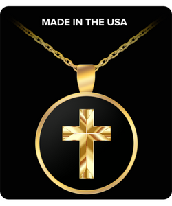 Gold Cross Necklace - Religious Charm Pendant - Beautiful Gift - Uncle Seal