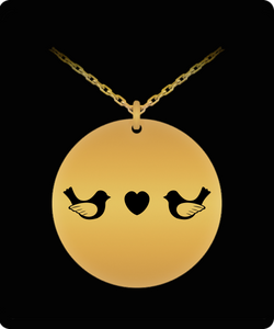 Love Bird Necklace - Gold plated Plated/Stainless Steel Silver Chain Pendant - Cute & Romantic Gift Charm