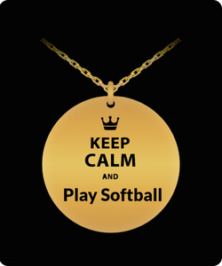 Softball Necklace - Gold plated Plated/Stainless Steel Laser Engraved Pendant - Great Gift Charm