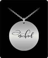 Michael Pendant - Name Necklace - Personalized Charm Gift - Gold plated Plated/Stainless Steel - Laser Engraved - Lovely Present - Uncle Seal
