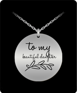 Daughter Charm - Gold plated Palted/Stainless Steel Silver Laser Engraved Pendant - Great Gift From Mom or Dad - Uncle Seal