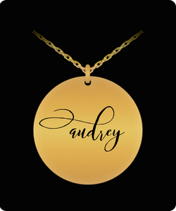 Audrey Pendant - Name Necklace - Personalized Charm Gift - Gold plated Plated/Stainless Steel - Laser Engraved - Lovely Present - Uncle Seal