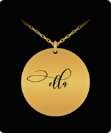 Ella Pendant - Name Necklace - Personalized Charm Gift - Gold plated Plated/Stainless Steel - Laser Engraved - Lovely Present - Uncle Seal
