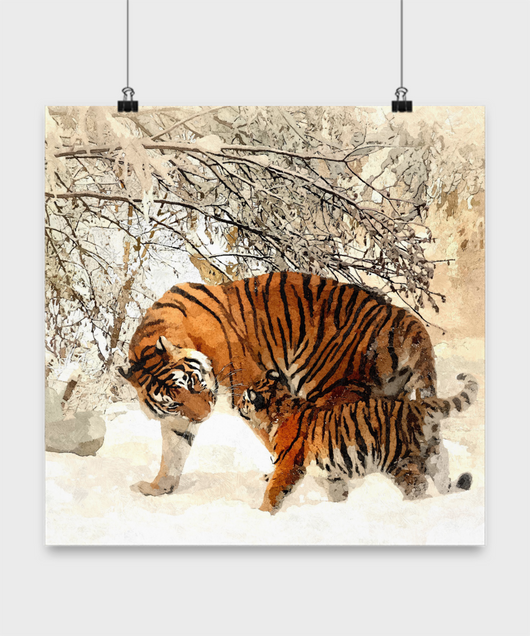 Tiger Poster Oil Painting style print - Snow Landscape - Great Gift - Uncle Seal