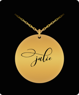 Name Necklace Personalized - Gold plated Plated/Stainless Steel Chain Laser Engraved Pendant - Beautiful Charm Gift - Uncle Seal