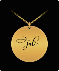 Name Necklace Personalized - Gold plated Plated/Stainless Steel Chain Laser Engraved Pendant - Beautiful Charm Gift