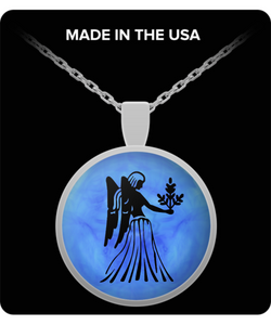 Virgo Necklace - Zodiac Signs Pendant - Blue Background - Uncle Seal
