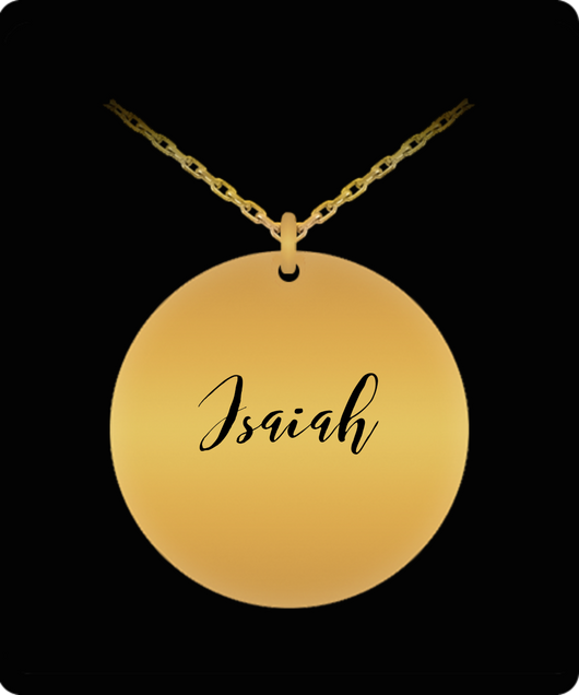 add6f912c655c Isaiah Pendant - Name Necklace - Personalized Charm Gift - Gold plated  Plated/Stainless Steel - Lovely Present