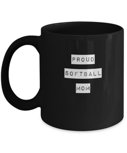 Proud Softball Mom - Black Coffee Mug - Uncle Seal