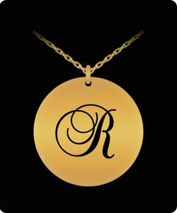 R Initial Necklace - Laser Engraved Gold plated Plated Chain Pendant - Name Charm