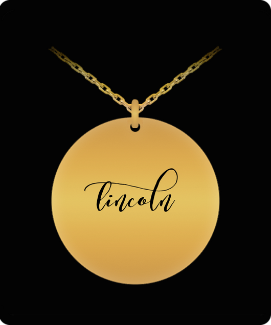 Lincoln Pendant - Name Necklace - Personalized Charm Gift - Gold plated Plated/Stainless Steel - Lovely Present - Uncle Seal