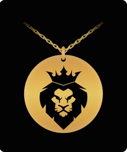 Lion Head Necklace - Gold plated Palted/Stainless Steel Laser Engraved Pendant - Great Gift Charm For Men and Woman - Uncle Seal