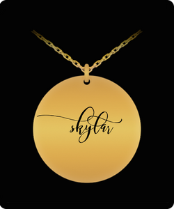 Skylar Pendant - Name Necklace - Personalized Charm Gift - Gold plated Plated/Stainless Steel - Laser Engraved - Lovely Present
