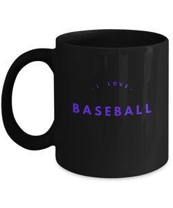 I love BaseBall - Black Coffee Mug purple - Uncle Seal