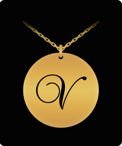 V Initial Necklace - Laser Engraved Gold plated Plated Chain Pendant - Name Charm
