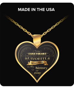Girlfriend Jewelry - To My Sweetheart - Gold Heart Necklace - Wife Pendant - Uncle Seal