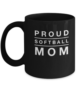 Black Coffee Mug- Proud Softball Mom - Uncle Seal