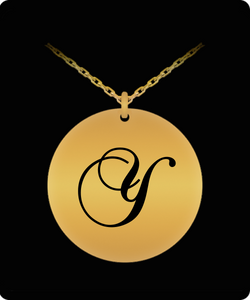 Y Initial Necklace - Laser Engraved Gold plated Plated Chain Pendant - Name Charm