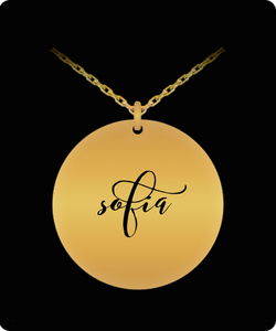 Sofia Pendant - Name Necklace - Personalized Charm Gift - Gold plated Plated/Stainless Steel - Laser Engraved - Lovely Present