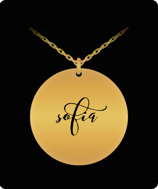 Sofia Pendant - Name Necklace - Personalized Charm Gift - Gold plated Plated/Stainless Steel - Laser Engraved - Lovely Present - Uncle Seal