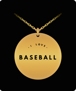 I Love Baseball Charm - Laser Engraved Gold plated Plated Chain Pendant - Great Gift Necklace For Wife/Girlfriend/Mom/Dad/Daughter/Son