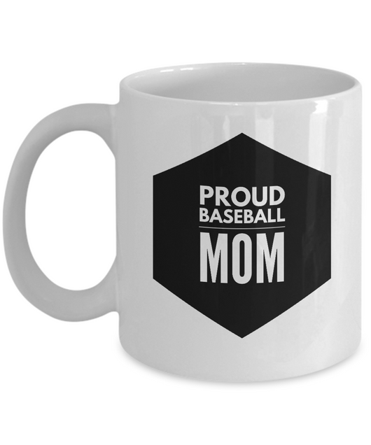 White & Black Coffee Mug - Proud Baseball Mom - Uncle Seal