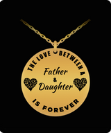 Father Daughter Necklace -  Gold Plated Laser Engraved Pendant - Personal Gift From Dad - Uncle Seal