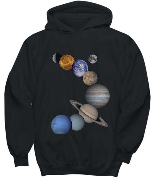 Solar System Design - Black Hoodie - Uncle Seal