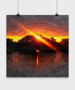 Sunset Oil Print style Design Poster - Uncle Seal
