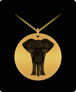 Elephant Necklace Design - Laser Engraved Gold Round Pendant - Gold plated Plated - Uncle Seal