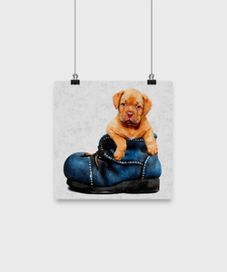 Cute Dog Poster - Oil Painting style print - Uncle Seal