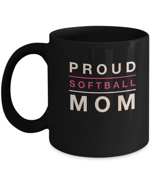 Black Mug- Proud Softball Mom - Uncle Seal