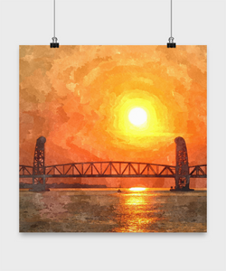 New York Sunset Painting Print Design Poster - Uncle Seal