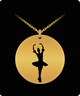 Ballet Slipper Necklace - Gold plated Plated/Stainless Steel Laser Engraved Chain Pendant - Balerina - For Girls - Cute Charm Gift - Uncle Seal