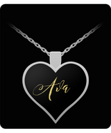 Ava Name Necklace - Personalized Charm Heart Pendant - Gold/Silver Color  - Lovely Present For Any Occasion - Daughter Gift - Uncle Seal