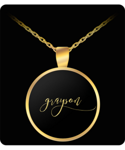 Grayson Name Necklace - Personalized Charm Pendant -Square/Round - Gold/Silver Color  - Lovely Present For Any Occasion - Son Gift