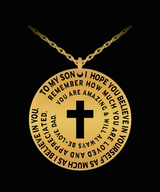 Father To Son Cross Necklace Gift - Silver/Gold Laser Engraved Pendant Charm From Dad - Uncle Seal