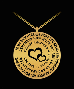 Father Daughter Pendant - Personal Gift Charm Necklace From Dad To Girl - Love Engraved Dedication - Gold/Silver - Uncle Seal
