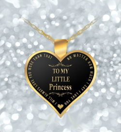 Mother Daughter Necklace - Heart Gold Shaped Pendant - To My Little Princess - Lovely Gift-