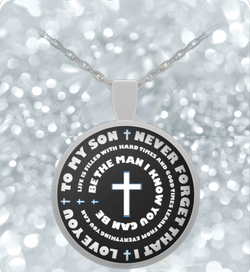 Father and Sons Gifts - Inspirational Pendant Necklace - Cross Design Charm - Uncle Seal