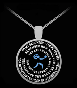 Softball Pendant - Silver Chain Necklace  To My Daughter - Gift From Dad - Inspirational Charm