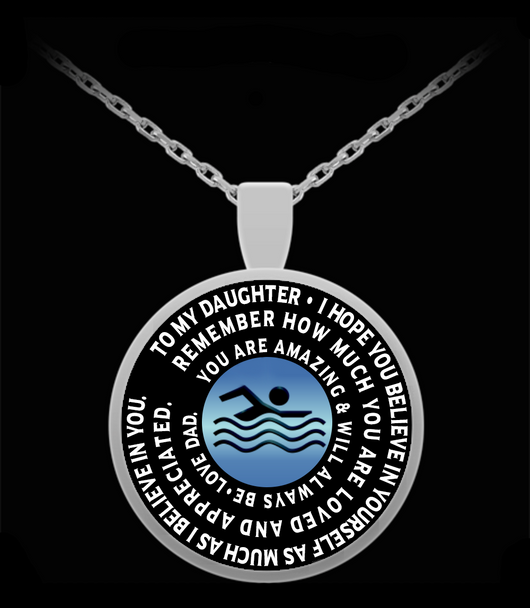 Swimming Athlete Pendant - Silver Chain Necklace  To My Daughter - Gift From Dad - Inspirational Charm - Uncle Seal